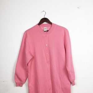 Pink Fleece Sweatshirt Duster Jacket